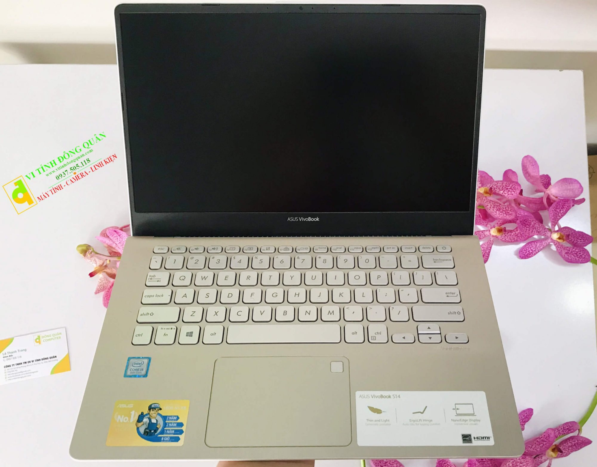 "Laptop Asus Vivobook S430FA - EB074T | i5-8265U | 4G | SSD 120GB + HDD 1TB | 14""FHD | Gold | M2 Pcle"