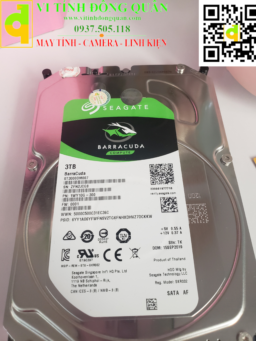 "Ổ cứng HDD 3.5"" 3TB hãng Seagate Barracuda 3TB ST3000DM007"