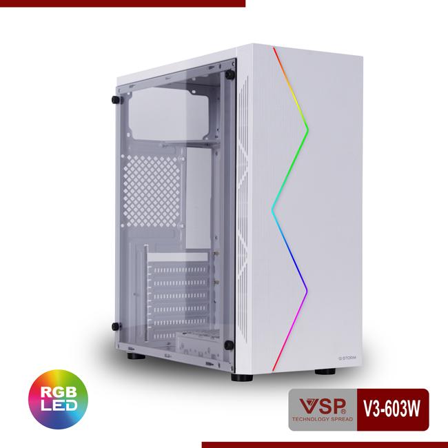 VỎ MÁY TÍNH / CASE VSP V3-603W Màu trắng (White) có LED RGB